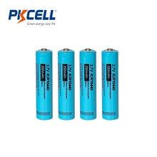 4 pces pkcell icr 10440 aaa bateria de lítio 350mah 3.7v li-ion aaa baterias recarregáveis botão superior lanterna eletrônica máquina