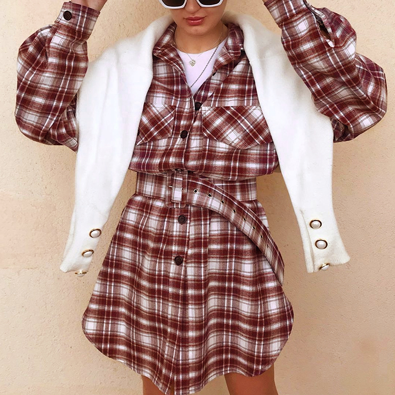 Long Sleeve High Waist Belt Plaid Button Pocket Dress 1