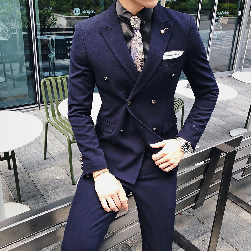 ( 1 Pcs Blazer No Pants ) Fashion Boutique Solid Color Mens Double-breasted Blazer Business Groom Wedding Dress Suit Jacket Male