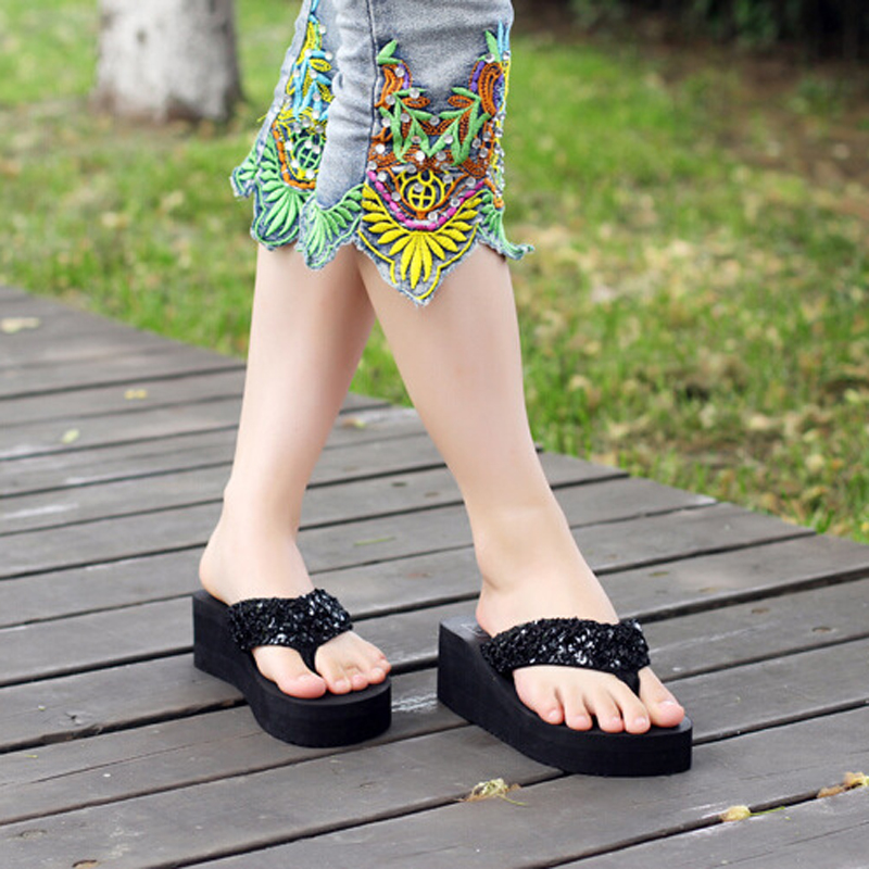 Women Torridity Outdoor Sandals Sequin Anti-slip Slippers Beach Flips Flat Sandals  Toe Shoes For Ladies Wading Shoes