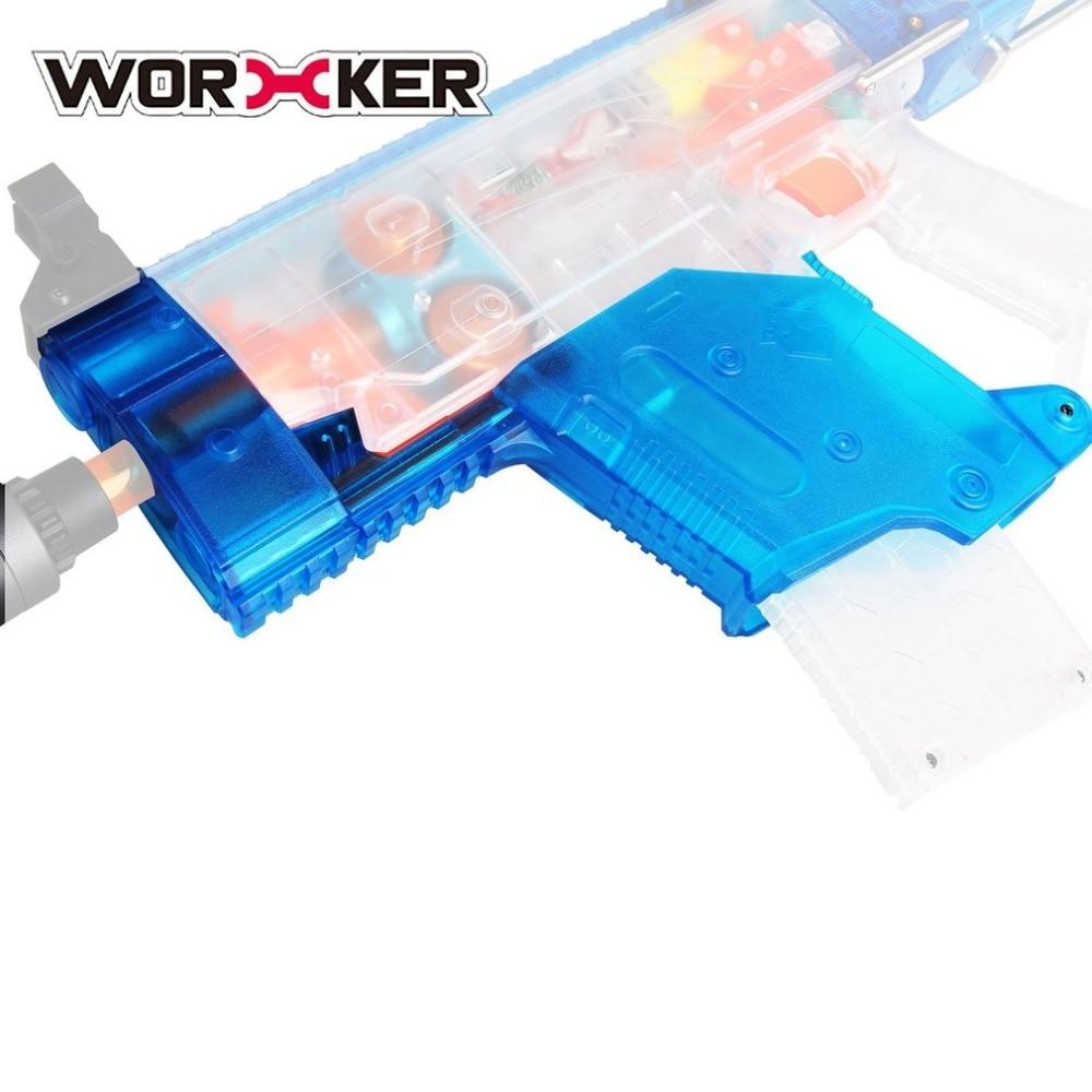 Kit d'accessoires de pistolet à jouets bleu Transparent ouvrier modifié couverture en forme d'épée courte Tube avant amovible pour Nerf Stryfe