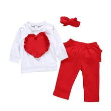 New Arrival Spring Baby Girl Clothing Cotton Heart Applique T-shirt  Girls Clothes Valentines Ruffle Pants