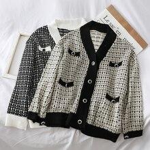 Mooirue Sweater Coat Winter Women Vintage Streetwear V Neck Casual Knitted Cardigan Pockets Plaid  Femme Korean Style