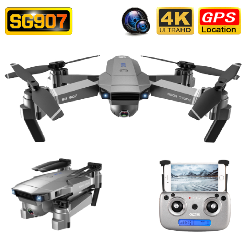 SG907 Drone GPS 4K HD 50X Zoom Wide Angle Dual Camera 5G WIFI FPV Foldable Selfie Drones Professional Follow Me RC Quadcopter