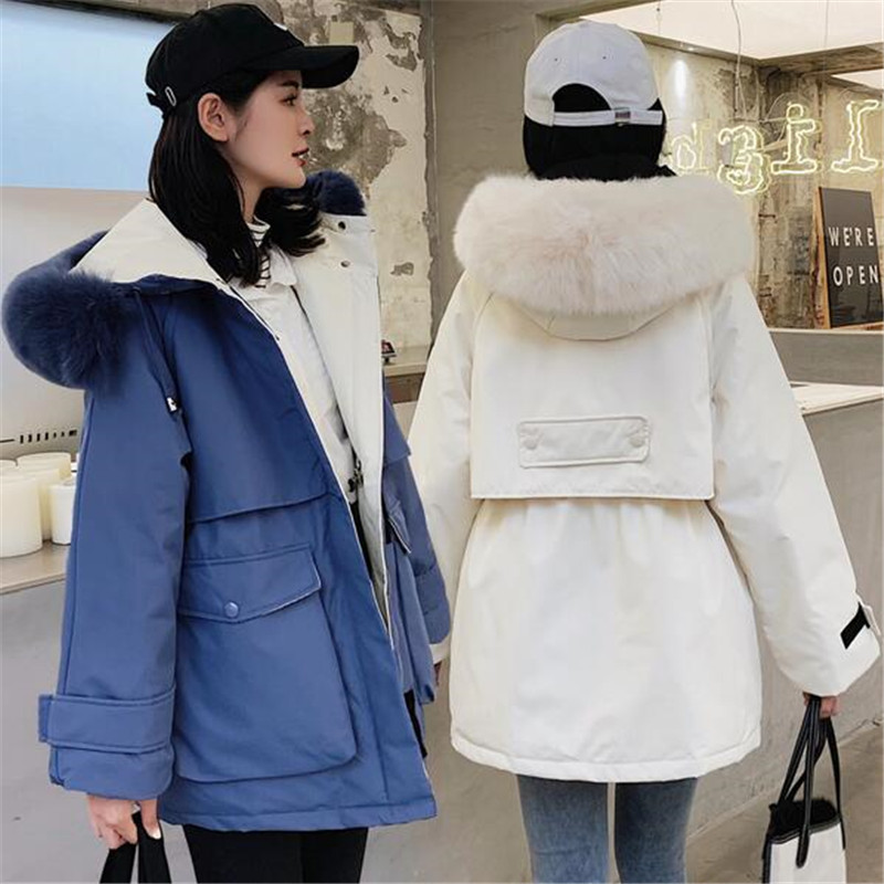 Large Natural Fox Fur Hooded Winter Jacket Women 90% White Duck   Down   Thick Parkas Warm Sash Tie Up Snow   Coat