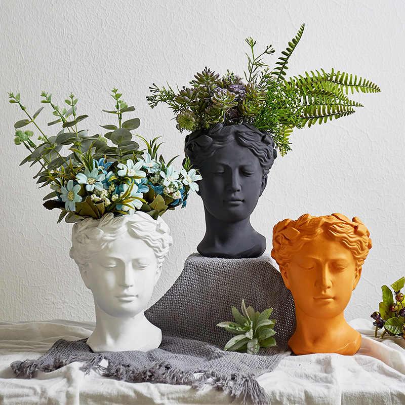 Potret Retro Vas Bunga untuk Dekorasi Vas Kepala Bunga Pot Venus Dewi Yunani Patung Ornamen Dekorasi Rumah Vas untuk Bunga