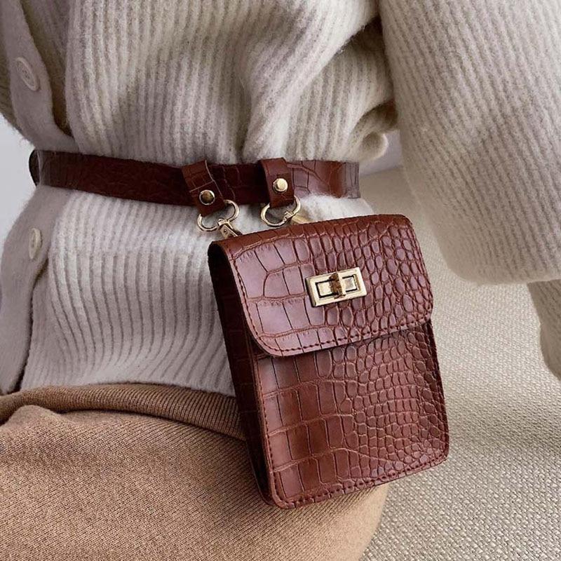 Vintage Women Waist Belt Bag Crocodile Brand Fanny Pack Hip Bag Waist Bags Designer Fashion Female Phone Bag Waist Pack