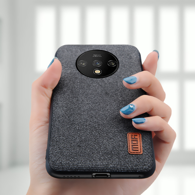 MOFi OnePlus 7T Luxury Shockproof Fabric Design Back Case Cover