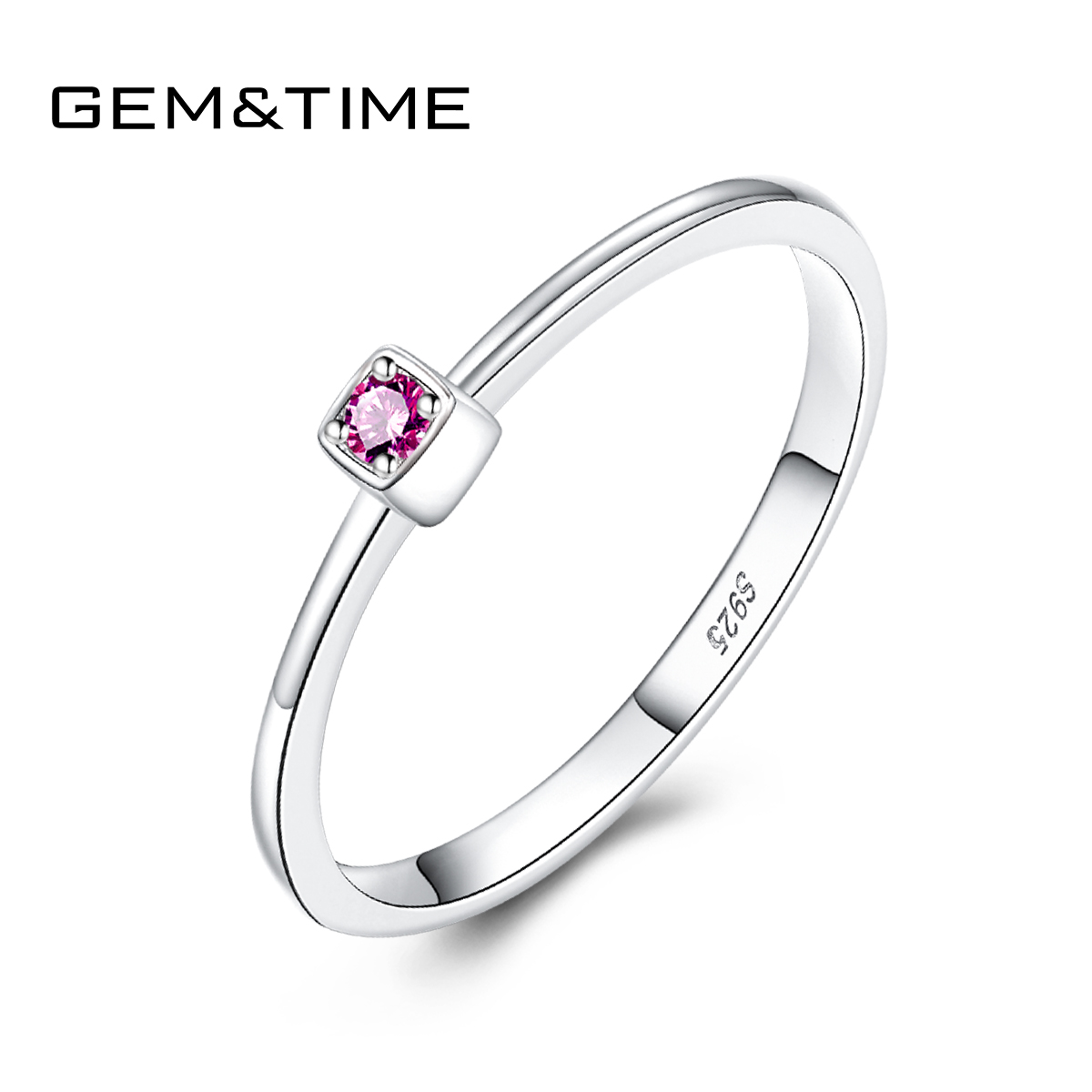 Gem&Time Real Sterling 925 Silver Ruby Topaz Solitaire Rings For Women Blue Red Gemstone Engagement Rings Jewelry Anillos Mujer