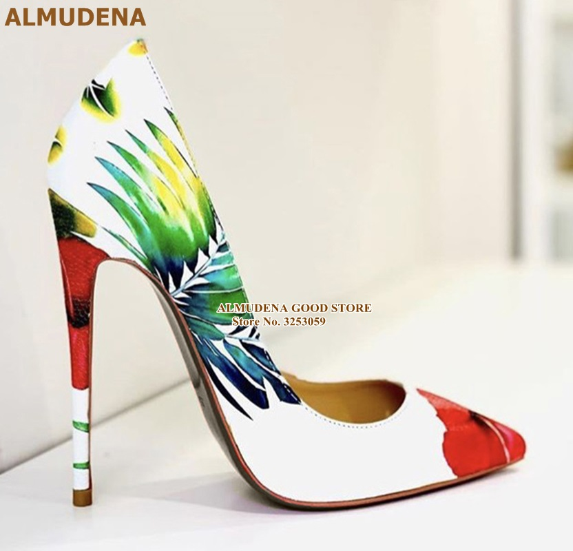 ALMUDENA Patent Leather Flower Printed High Heel Pumps 12cm Stiletto Heels Floral Party Shoes Dropship Wedding Pumps Size45
