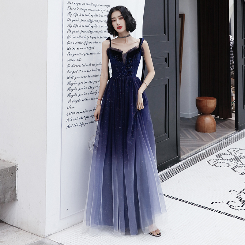 AE560 Long   Evening     Dresses   2019 Sleeveless V-neck Sparkle Elegant Little A-line Autumn Winter Long Formal Party Prom Gowns