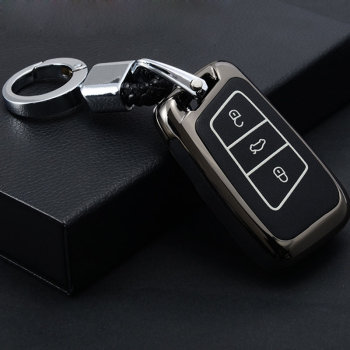 Zinc Alloy+Leather Car Key Case Cover For VW Golf 7 GTI MK7 Octavi A7 Seat Leon Ibiza Flip Remote Key Wallet Keychain image