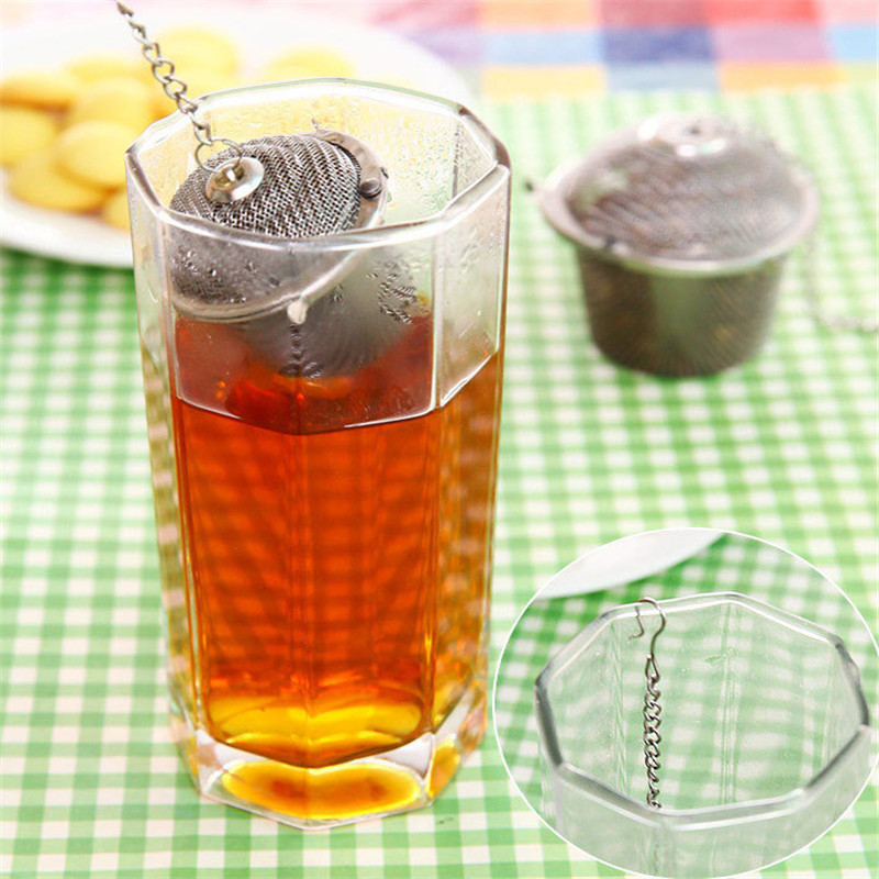 Stainless Steel Bucket Mesh Tea Ball Stew Soup Spice Sieve Infuser Filter Teabags With Chain Kitchen Coffee Herbal Filter