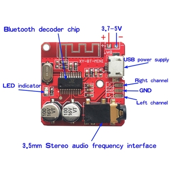 2021 New 3.7-5V MP3 Bluetooth Lossless Decoder Board Car Stero Speaker Amplifier Module image