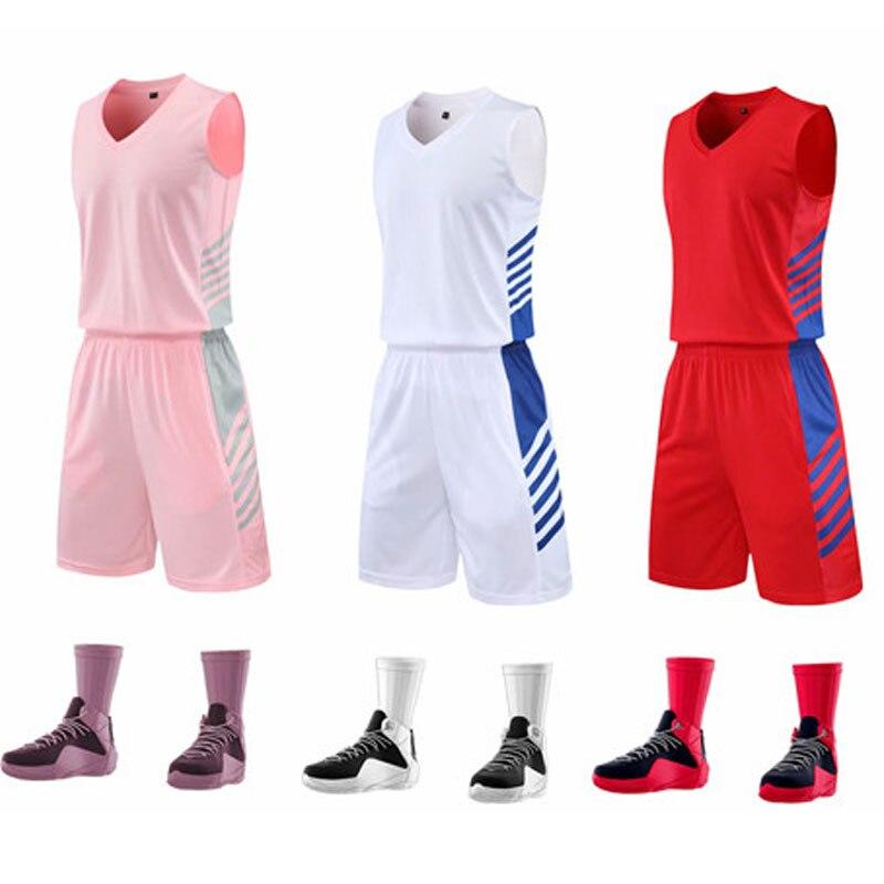 Camisa de Basquete Shorts sem Mangas Agasalho para Homens Equipe de Basquete Uniforme em Branco Terno de Treinamento Feminino Esportivo Personalizado &