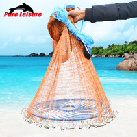 Upgraded American Hand Cast Net with Flying Disc High Strength Fly Cast Fishing Network 300/360/420cm Throw Carp Fishing Net