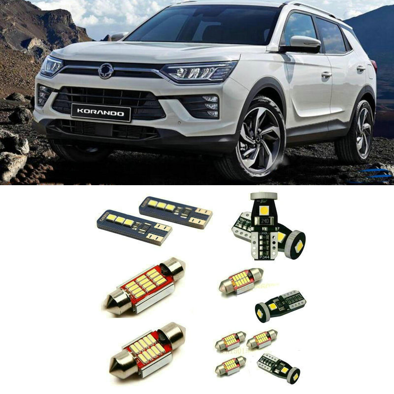 Led interior lights For SSANGYONG Beautiful korando 9pc Led Lights For Cars lighting kit automotive bulbs Canbus image