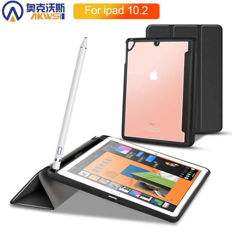Tablet Case For Ipad 10.2 2019 Pencil Holder Cover For Ipad 7th Generation Ipad 7 Case 2019  Folding Fashion Protective пенал
