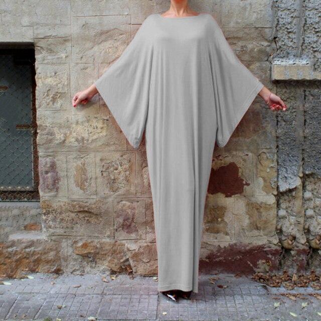 Plus Size muslim clothes Super elastic middle East religion apparel Summer Floor Length long dress Loose Muslim dress  women 3