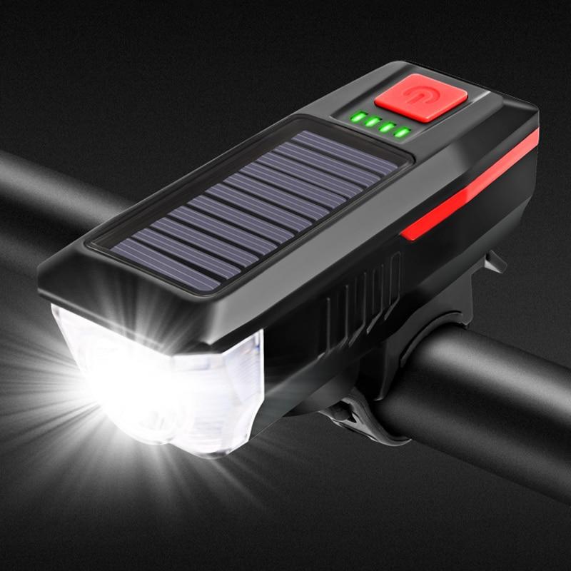 Bicycle Headlights Front light 2000 mAh IPX4 Waterproof USB Solar Charging Bike Light Bell 120 dB Multiple Modes lamp H037