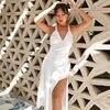 NewAsia Backless White Dress Woman Tie up V Neck Split Midi Sexy Dresses Ladies A Line Robe Casual Party Fashion Beach Vestidos 4