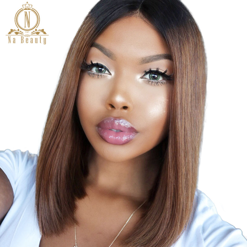 180 Density 1B 30 Ombre Colored Human Hair Wigs For Women Brazilian 13x6 Lace Front Wig Short Bob Lace Front Wig Nabeauty Remy