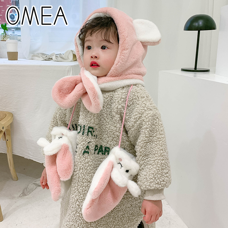 OMEA Girls Winter Scarf Hats Gloves Winter Set Boys Cartoon Faux Rabbit Fur Lovely Bear Ear Hat Scarves Teddy Winter Gloves Kids
