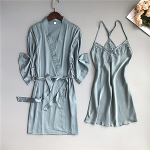 Image 2 - 2019 primavera verão feminino cetim robe & vestido define sexy rendas sleep lounge sem mangas sil nightwear roupão + noite vestido almofadas no peito