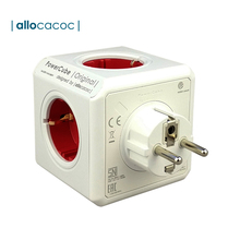 Allocacoc Powercube spina ue presa elettrica intelligente prolunga ciabatta Desktop Office Home 16A adattatore per caricabatterie 5 prese rosso