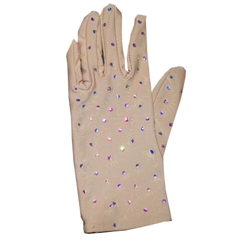 Flesh-colored Figure Skating Gloves High-elastic Spandex Soft Skating Show Stage Wear Shiny Rhinestone Rollers Accessories