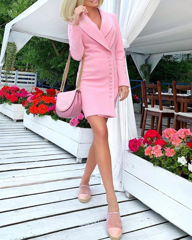 OL однотонный однобортный Блейзер, платье, рабочая одежда для женщин, с зубчатым воротником, с длинным рукавом, тонкое повседневное мини-плат...