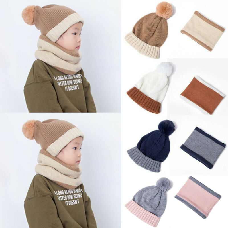 Toddler Kids Girl Boy Baby Infant Winter Crochet Knit Hat Beanie Cap With Scarf Set