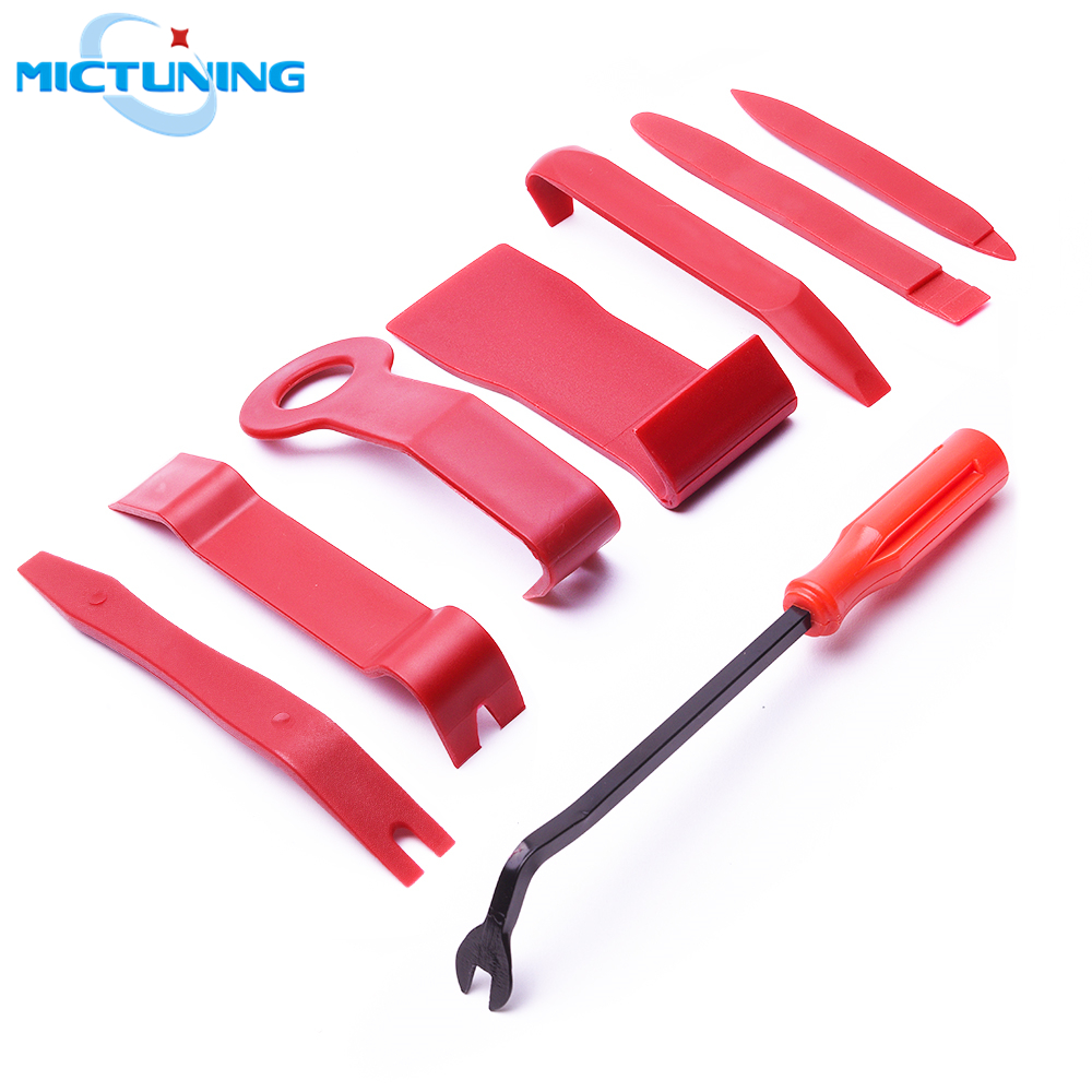MICTUNING 8pcs Automobile Interior Trim Removal Pry Tool Set Car Disassembly Tools Audio Door Clip Panel Trim Dash Molding Tools