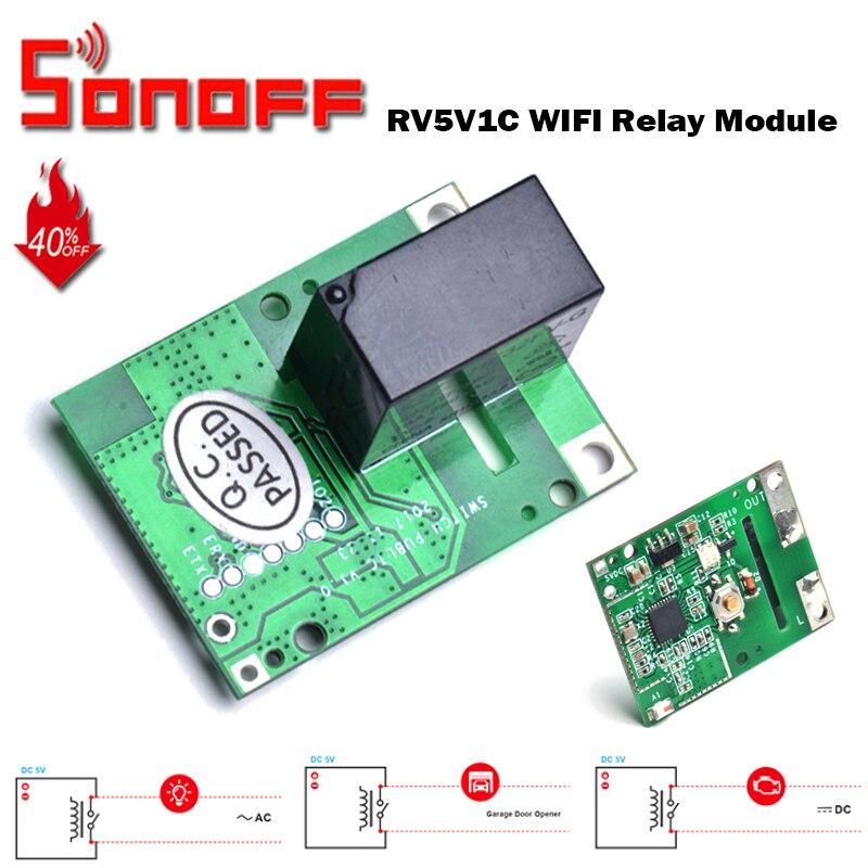 SONOFF relais RE5V1C Module 5V WiFi bricolage commutateur Contact sec sortie entrée/auto-verrouillage Modes de travail APP/voix/LAN contrôle maison intelligente