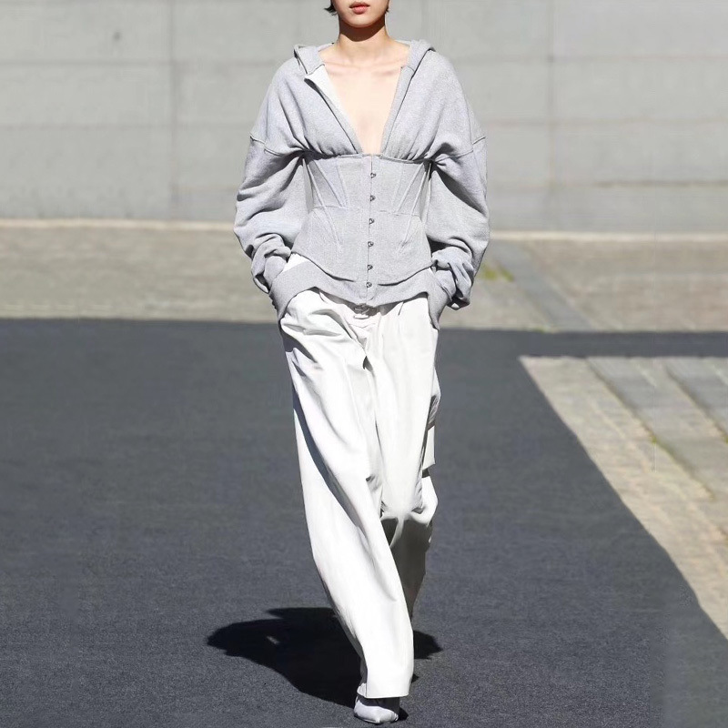 LANMREM 2019 New Autumn And Winter High Waist Zippers Ealstic Hooded Gray Full Sleeves Short Sweatshirt WJ70602L