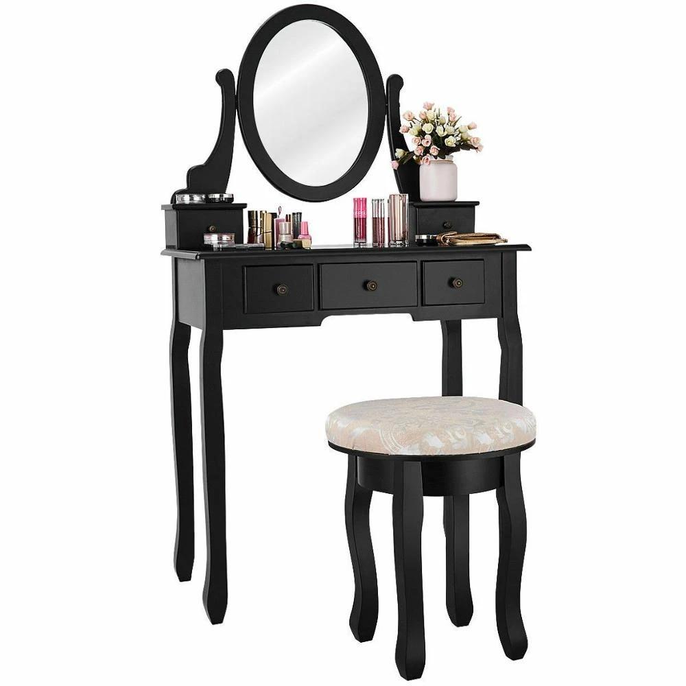 Vanity Set Modern Bedroom Makeup Mirror Dressing Table Cushioned Stool With 5 Drawers Hw56028 Vanity Table Sets Mirrored Dressing Tabledressing Table Aliexpress