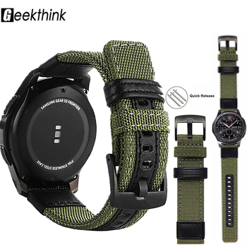 strap For Samsung Galaxy watch 3 46mm band gear s3 Frontier Classic nylon 22mm 20mm WatchWoven Nylon Band for Wrist