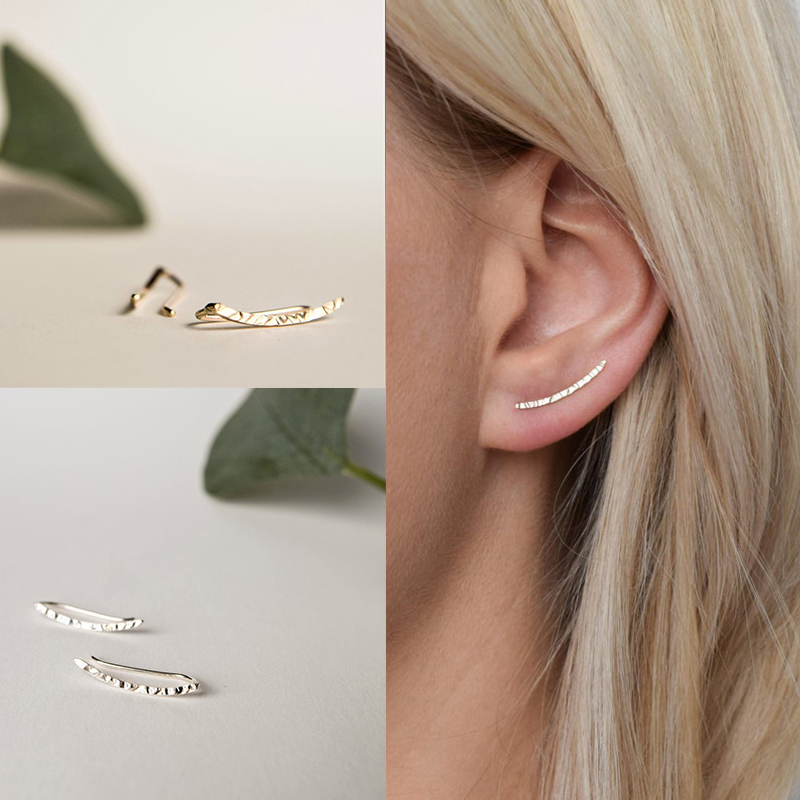 Clear Gemstone Silver Studs Sterling Silver Crystal Geometric Ear Climber Earrings Geometric Stud Earrings Triple CZ Diamond Earclimbers