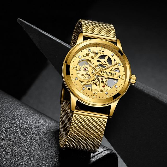 FNGEEN Top Brand Luxury Sport Mechanical Watch Luxury Golden Watch Mens Watches  Montre Homme Clock Men Automatic Skeleton Watch