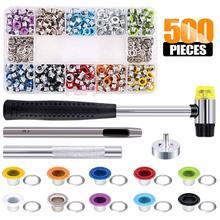 500 комплектов комплект для втулки, инструмент для установки втулки, Металлический Набор для проушин с установочным набором инструментов в к...