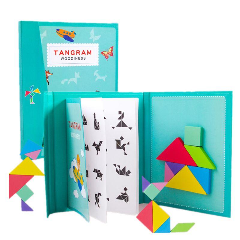96 Puzzles Magnetic Tangram Kids Toys  Montessori Educational Magic Book Suit 24BE