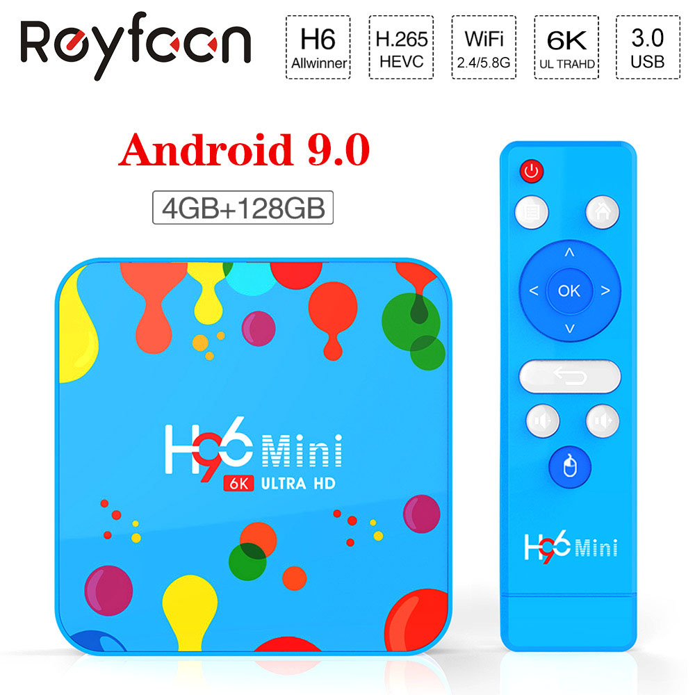 H96 Mini Android 9.0 TV Box Allwinner H6 6K H.265 USD3.0 Dual Wifi HDR Support Google Player Youtube Set Top Box 4GB 32GB 128GB
