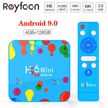 H96 Mini Android 9.0 TV Box Allwinner H6 6K H.265 USD3.0 double Wifi HDR prise en charge Google Player Youtube décodeur 4GB 32GB 128GB