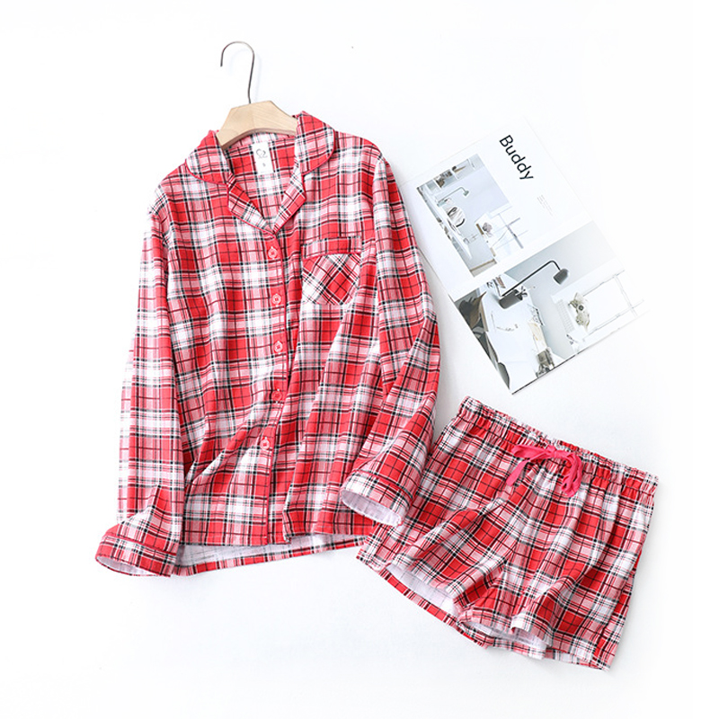 Plus Size Sexy Plaid Pure Cotton Pajamas Sets Women New Long Sleeves Shorts Pyjamas Sets Women Sleepwear Quality Homewear