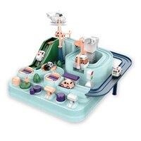 Juguete de mini riel Montessori para niños, juego de mesa de aventura mecánica, regalo, novedad de 2021
