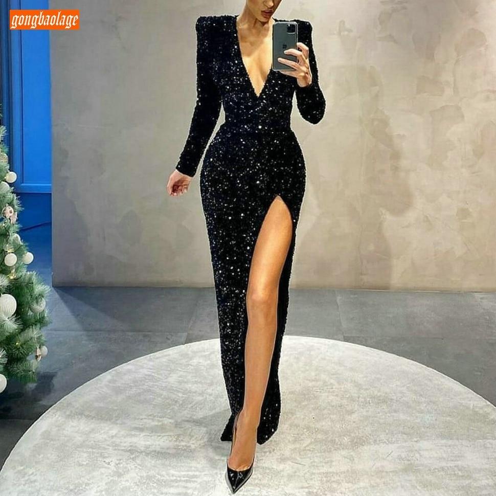 Black Mermaid Evening Gown Sexy Slim Fit Custom Made Women Evening Dresses...