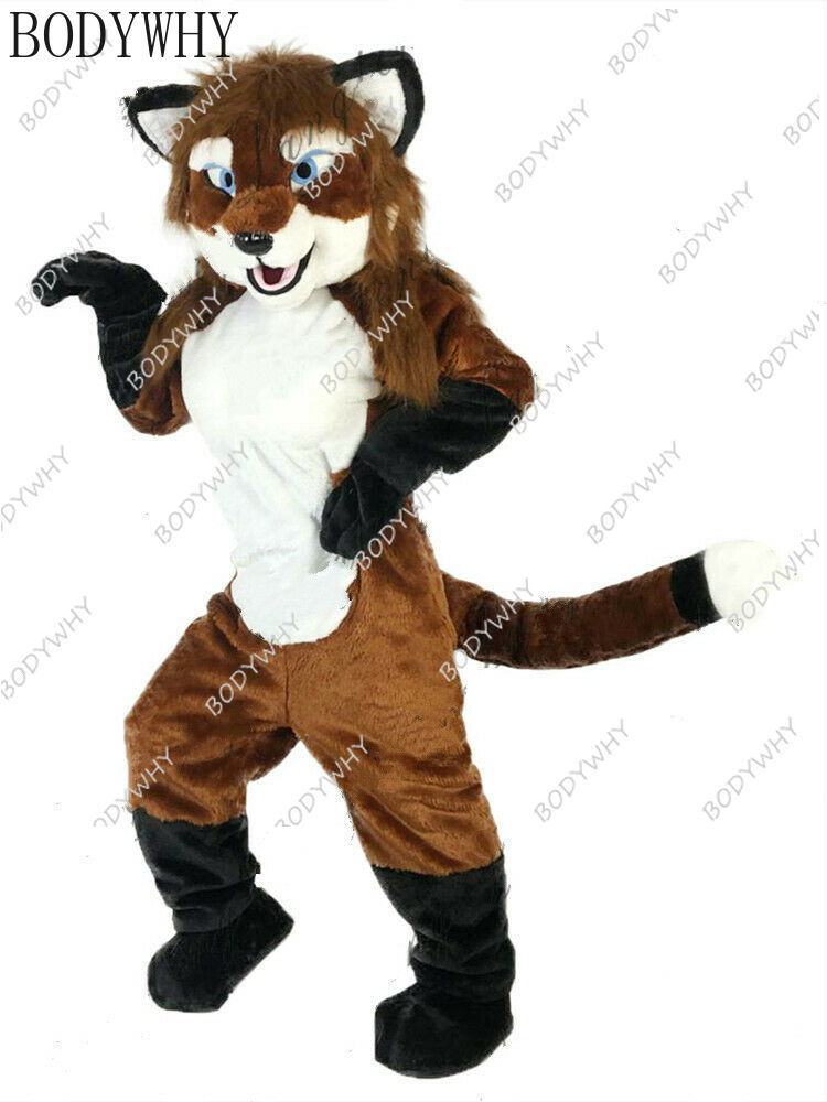 Halloween Long Fur Fox Dog Mascot Costume Fursuit Animal Party Game Fancy Dress Advertising Adults Furry Character Xmas Parade