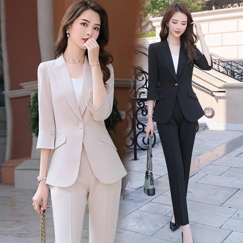 2020 Black Apricot Female Elegant Women's Suit Set Blazer And Trouser Pant Business Uniform Clothing Women Lady Tops And Blouses