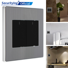 2 Gang 2 Way Switch 250V 10A Control Brushed Stainless Steel Panel Click Wall Switch with LED Indicator Light Waterproof