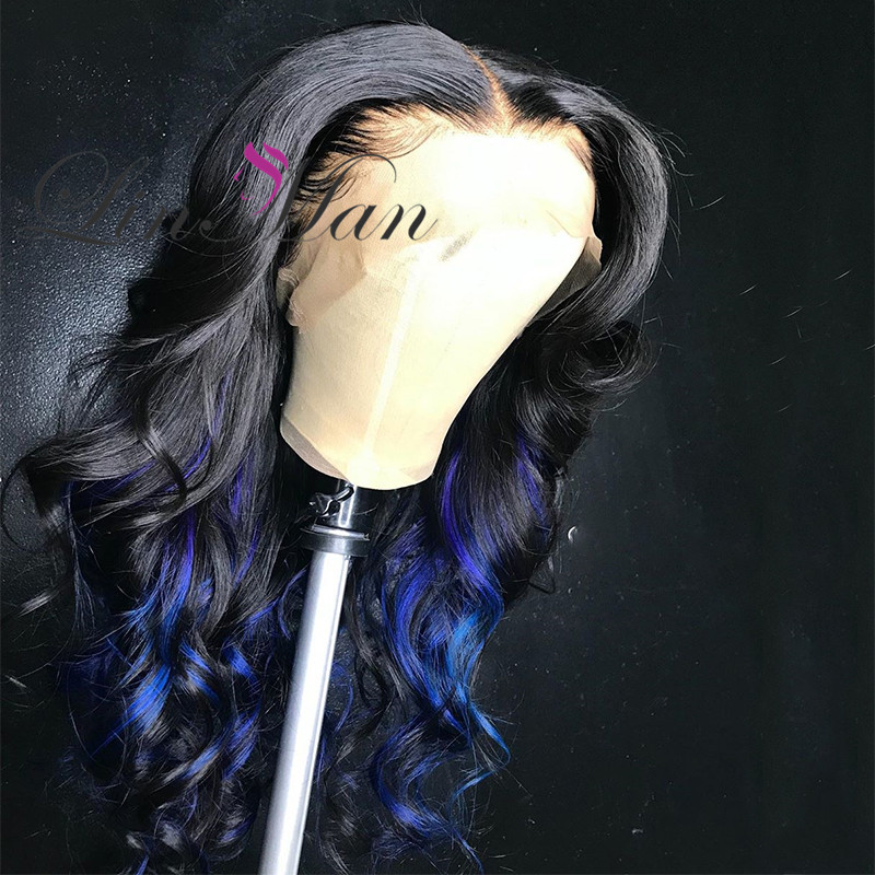 Blue And Purple Natural Wigs 180% Density Wave Brazilian Remy Human Hair Lace Front Wig Colorful Lace Front Human Hair Wig